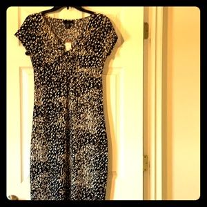 NWT! Apostrophe black brown & tan dress with knot